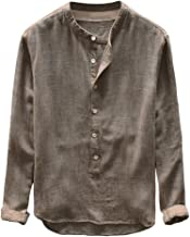Linen Shirt Men Casual Solid Color Loose Button Cotton Casual Spring Top