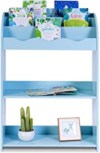 HONEY JOY Kids Bookshelf, 3 Tiers Shelves & 2 Tires Toy Organizer Magazine Storage Rack for Kids Bedroom Playroom (Blue)
