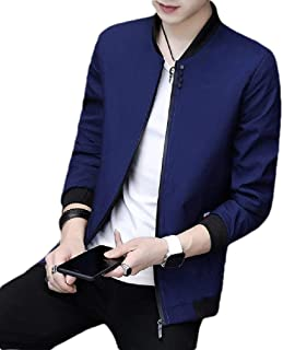 qianqianq Mens Slim Fit Solid Colored Long-Sleeve Stand-up Collar Zip-Front Coats