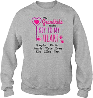 Gear Essence Personalized Grandma Sweat Shirt with Customized Text for Grandkids Names, Key to My Heart