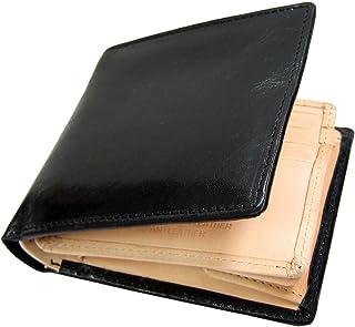 Maturi マトゥーリ プッチーニイタリアンレザー×日本製ヌメ革 二つ折財布 MR-018 ブラック 黒
