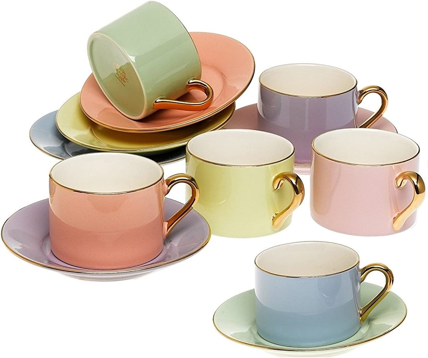 Yedi Houseware Classic Coffee and Tea Cups & Saucers Complete, Premium Quality Porcelain Set In Beautiful Pastel colors with gold Plated Rims & Handles Stunning Hostess Gift Idea 7oz  (Set of 6)