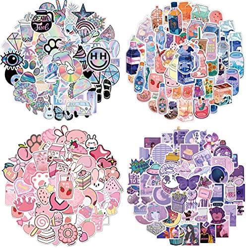 Water Bottle Stickers 200 Pcs Hydroflask Stickers Waterproof Cute Aesthetic Vinyl Vsco Laptop Luggage Skateboard Computer Stickers for Teens Girls Kids