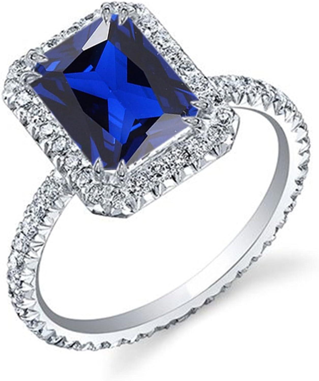 Vorra Fashion Smaragd mit blue Saphir DamenRing Solitaire mit Akzenten bequem