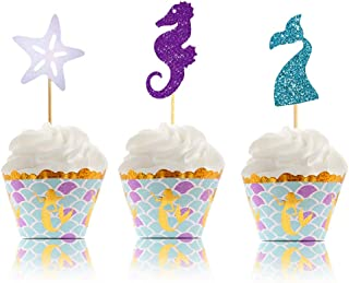 Mermaid Cupcake Toppers & Wrappers - Mermaid Party Supplies  Glitter Design  Perfect for Mermaid Theme, Under the Sea Theme Baby Shower, Birthday Party - 50 Pcs