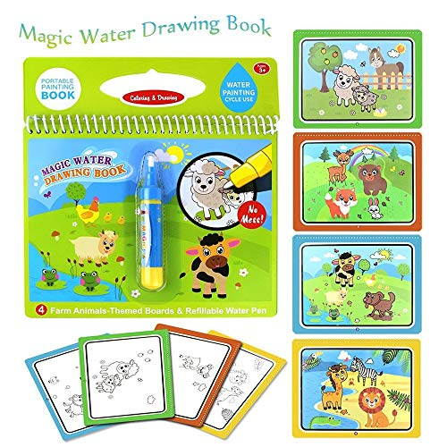 Cheap Oliwui Magic Water Drawing Book Coloring Book Magic Pen Painting Drawing Board Water Drawing T...