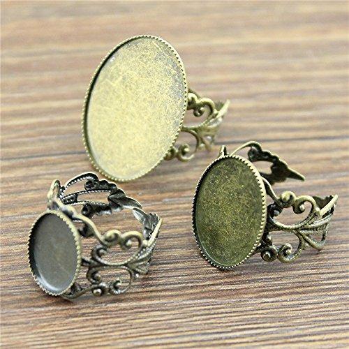 MEWME - Juego de 15 anillos ajustables con forma de flor de 18 x 25 mm, parte trasera plana ovalada, cabujón de latón, base camafeo, suministros para accesorios de joyería H411