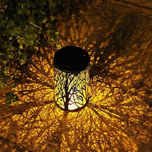 Linterna de Jardin Solar Farolillos de Exterior LED con Gancho Farol de Jardín Decoración Solar IP55 Impermeable Outdoor Lámpara de Metal Al Aire Libre para Carretera Patio