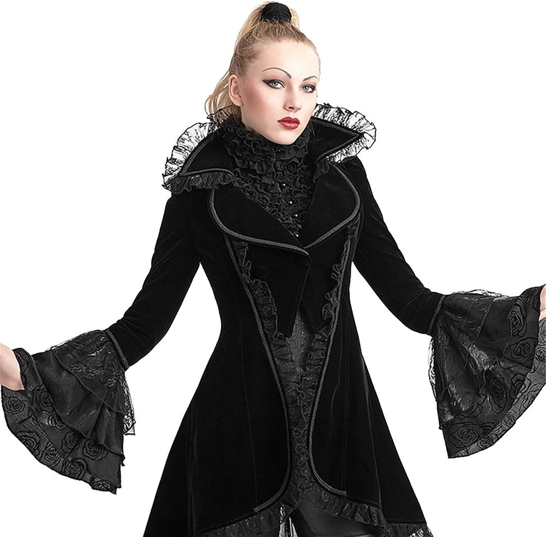 Peony ghost Gothic Women Swallowtail Long Coats Flare Sleeve Party Overcoats Halloween Slim Winter Jackets Black