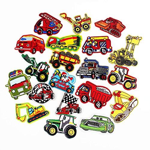 FENGLING Lindos pequeños autobuses, Coches, Camiones, Parches, Insignia de Dibujos Animados, Plancha para Camisetas de niños, Pegatinas de Costura, Patchwork, 20 Piezas