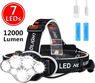 Ultra Bright 7 LED Rechargeable Headlamp - highydroLED Headlight with White Red Lights,18650 USB Rechargeable Waterproof Head Lamp, 8 Modes for Outdoor Camping Hiking Hunting Cycling Running Fishing