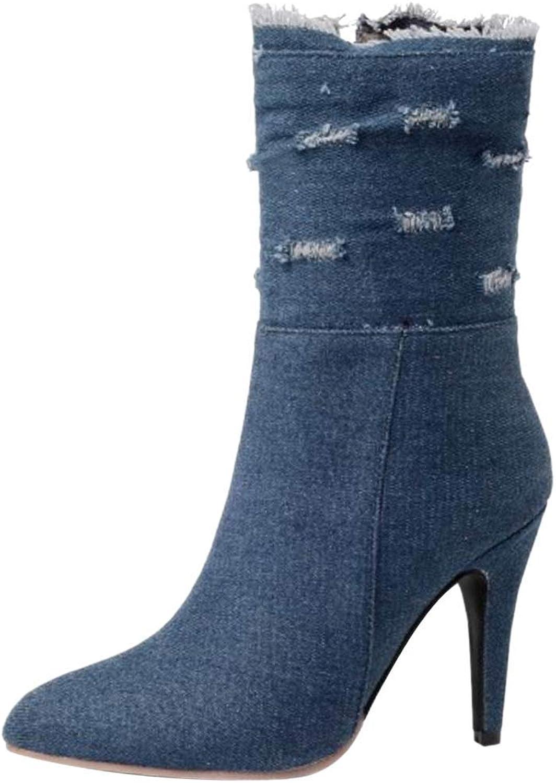 Unm Women's High Heel Ankle Boots Zip