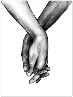 Nordic Poster Black and White Holding Hands Picture Canvas Prints Lover Quote Painting Wall Art for Living Room Minimalist Decor,30x42cm No Frame,ZZ10588-03