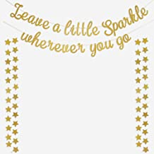 Leave a Little Sparkle Wherever You Go Banner Glitter Gold Sign with 50 Star Garlands Decorations for Home Room Girl Wall Decal Nursery Baby Shower Kids Brithday Party Decor