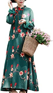 Women Floral Embroidery Dress Chinese Style Casual Long Maxi Dress