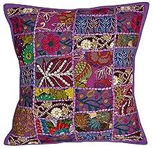 NANDNANDINI - Funda de cojín con diseño de patchwork, hecha a mano, estilo bohemio, hippie.