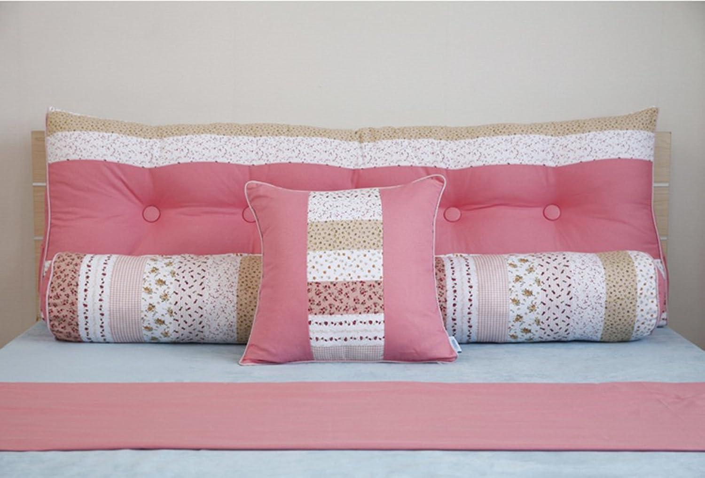 Dossier De Chevet Lit double chevet Triangle Coussins en paquet souple PilFaible Bed Lumber Oreiller(Trois pièces) (Couleur   Rose, taille   Xl)