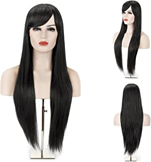 MelodySusie Black Long Straight Wig for Women, 31 inches Silky Long Straight Black Wig with Bangs Heat Resistant Synthetic Halloween Wig Hair Wig for Women with Free Wig Cap, Black