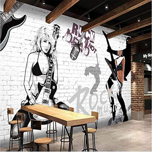 MGQSS 3D Tapete Wandgemälde Rockmusik-Kaffee-Retro Gitarren-Schönheits-Restaurant Selbstklebend Tapete PVC Spiel Film Zeichen Poster Fotos Fitnessstudio Yoga Internetcafes Bar Hotel (B)430x(H)300 cm