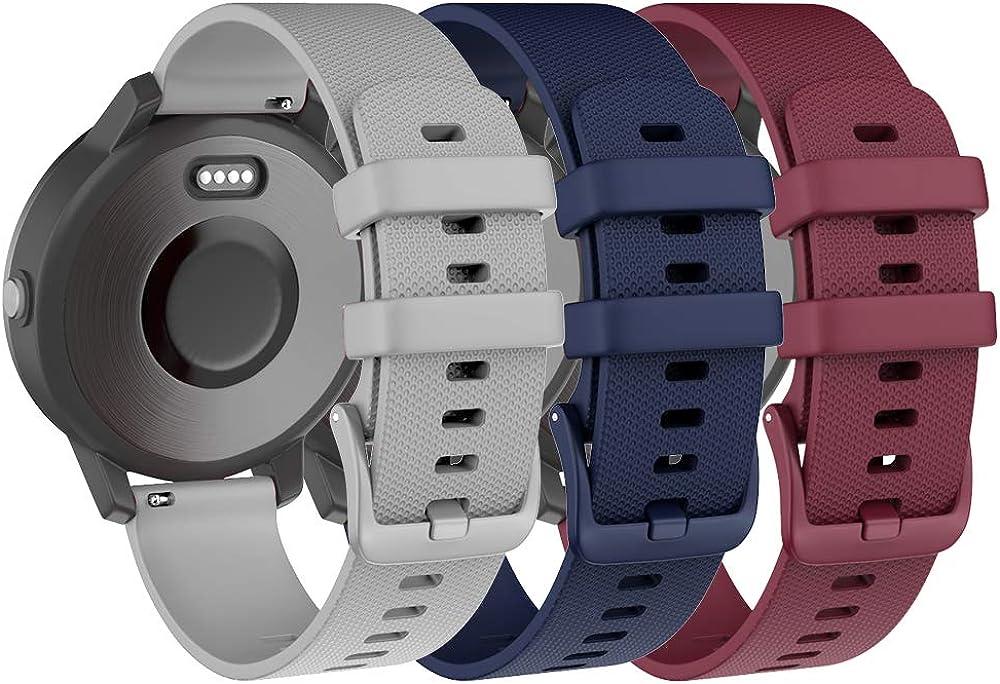 ISABAKE Correa de Reloj para Garmin Vivoactive 3 Vivomove HR Forerunner 245 645 Music Galaxy Active 2, Correa de Repuesto de Silicona Suave para Accesorios Garmin Watche