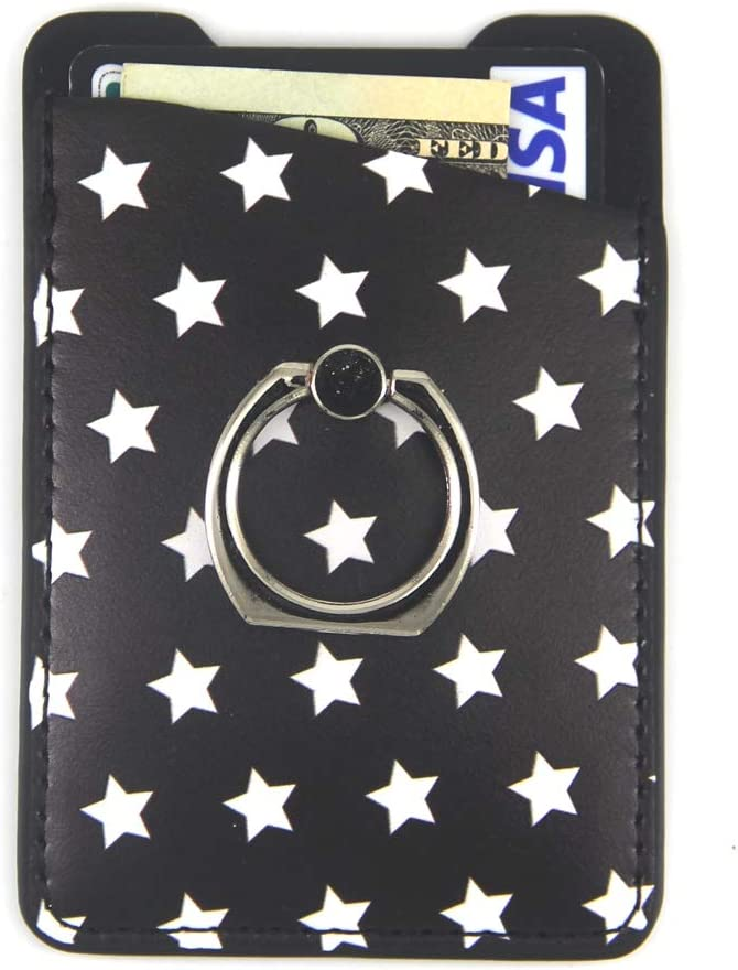 CalorMixs Black Stars Phone Card Holder Sleeves with Ring for Phone Credit Card Wallet Pockets PU Leather Card Holder for iPhone and Android Smartphones (Star with Ring)