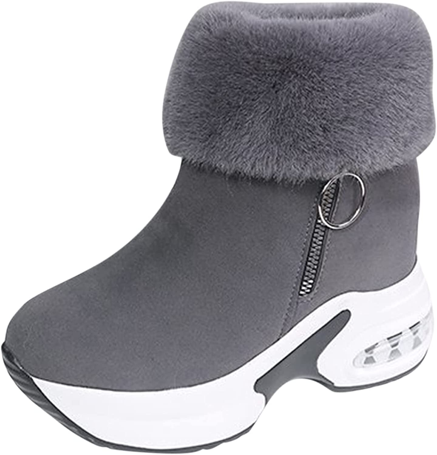 Boots For Women With Heel Boots for Women, Women's Round Toe Waterproof Lace up Work Combat Boots Low Heel Ankle Booties Gray
