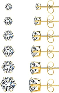 6 Pairs Stainless Steel Stud Earrings Set Hypoallergenic Cubic Zirconia 18K White Gold, 316L Hypoallergenic Surgical Stain...
