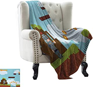 BelleAckerman Blanket Storage Video Games,Arcade World Kids 90s Fun Theme Knight with Fireball Bonus Stars Coins Image,Multicolor Blanket for Sofa Couch TV Bed All Season 60