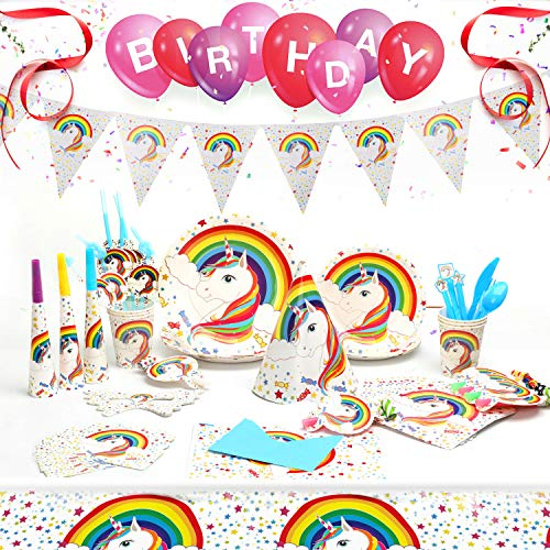 Ucradle 90 Stück Einhorn Party Set, Geburtstag Geschirr Set mit Banner, Party Supplies Einweg...