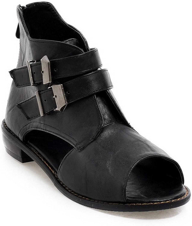 WeenFashion Women's Solid Low Heels Open Toe Zipper PU Sandals