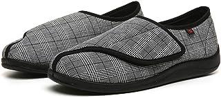 Homme Chaussons Diabétiques Réglable Velcro Orthopédique Pantoufles Extra-Larges Chaussures pour Personnes Âgées Pieds Enf...