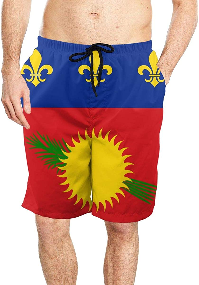 DASMUS Flag of Guadeloupe Men's Drawstring Beach Board Shorts Swim Trunks with Mesh Lining