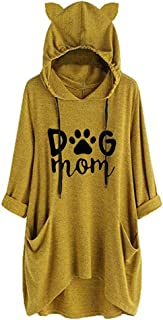 YEMOCILE Women Cute Dog Mom Print Long Sleeve Cat Ear Irregular Thin Hoodie with Pockets Hoodies