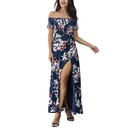 0917f0902d6d Azalosie Women Off Shoulder Maxi Dress Maternity Floral Short Sleeve Empire  Waist Slit Dress Summer Party