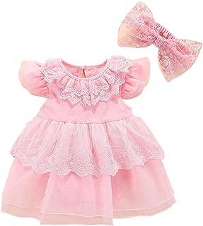 RONSHIN 2 pcs/Set Kids Girls Mesh Stitching Lace Tutu Princess Dress+Bowknot Headband Pink TH-18807 Cake Skirt 70 (6-9 Months)