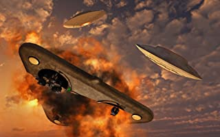 Posterazzi PSTMAS100732S UFO's from different alien races fighting each other in the Earth's atmosphere Poster Print 18 x 11