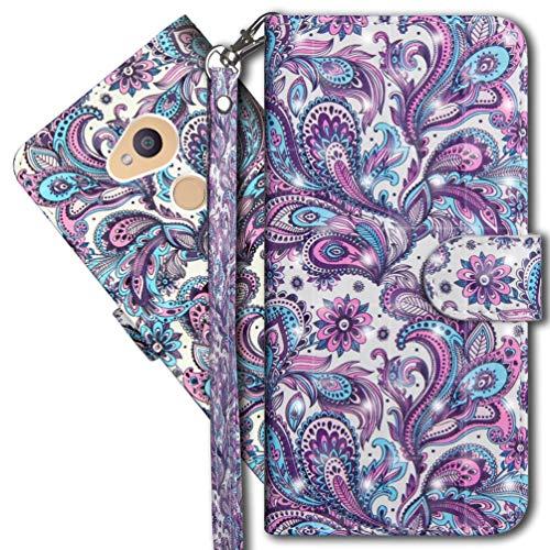 MRSTER Sony Xperia L2 Handytasche, Leder Schutzhülle Brieftasche Hülle Flip Hülle 3D Muster Cover mit Kartenfach Magnet Tasche Handyhüllen für Sony Xperia L2. YX 3D - Peacock Flower
