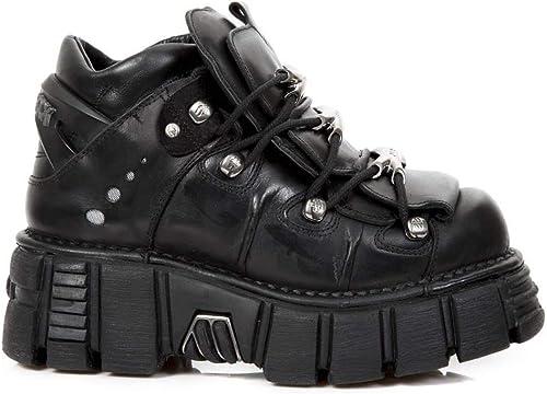 Smart Range Leather Nouvelles Chaussures Chaussures DE Tour Rock M.106-S43 Bottes Gothiques Biker Cuir Noir Métallisé