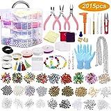 Souarts 2015PCS Kit de Fabrication de Bijoux DIY Kit de Perles et Charmes de Bijoux Kit d'outils de Fabrication de Bijoux avec Rangement de Boîte