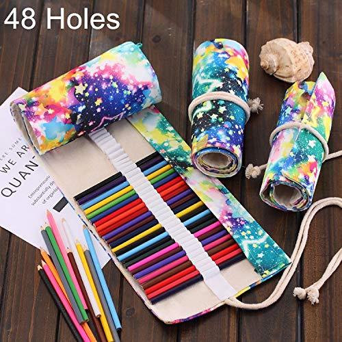 Ist Lijm 48 Slots Sternenhimmel-Druck-Feder-Tasche Leinwand-Bleistift-Verpackungs-Vorhang Roll Up-Bleistift-Kasten-Briefpapier-Beutel Lager