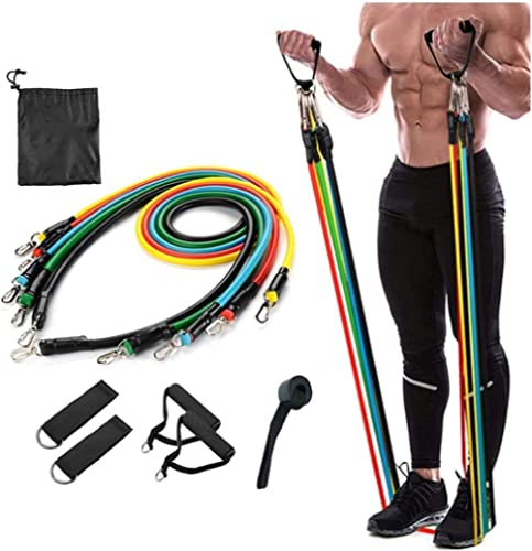 ZURATO Resistance Bands Set (11pcs), Exercise Bands with Door Anchor, Handles, Waterproof Carry Bag, Legs Ankle Strap...