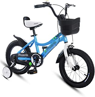 """Children's Bicycle 12"""" 14"""" Boy Shock Absorber Bicycle Girl Bicycle Learning Auxiliary Balance Wheel Mountain Bike (Color : Blue, Size : 12inches)"""