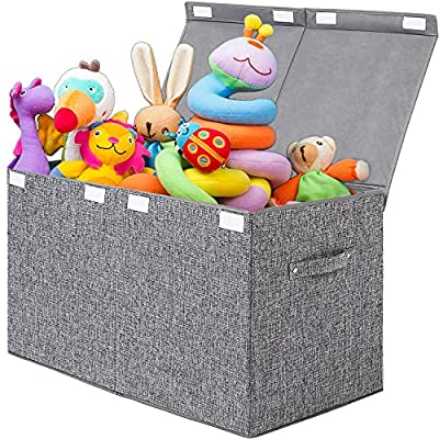 Lafulling Large Toy Box Storage Organizer Chest, Linen Collapsible Storage Trunk Bins Basket with Lid for Boys, Kids, Girls, Nursery, Playroom, Closet(Gray) by Lafulling