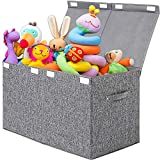 Lafulling Large Toy Box Storage Organizer Chest, Linen Collapsible Storage Trunk Bins Basket with Lid for Boys, Kids, Girls, Nursery, Playroom, Closet(Gray)