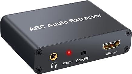 LiNKFOR HDMI Extractor de Audio 192KHz Convertidor DAC ARC Extractor de Audio Soportar HDMI Audio Digital a Audio Analógico RCA L/R, Coaxial SPDIF y 3,5 mm Jack ARC Adaptador de Audio para TV