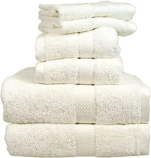 Europa Fine Linens EuroPlush Hotel Collection Ring Spun Cotton Towels, Bone White, 6 Piece Set: 2 Bath Towels, 2 Hand Towels, 2 Washcloths