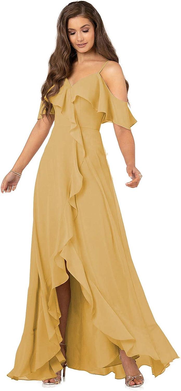 D N Women's V-Neck Bridesmaid Genuine Free Shipping Oc Detroit Mall Long Chiffon Formal Dress