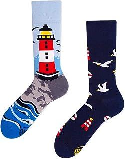 Calcetines de linterna, patrones multicolores, algodón, linterna, mar, gaviotas (35-38)