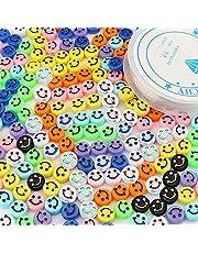 SAVITA 200 Stuks Smiley Kralen Kleurrijke Schattig Blij Gezicht Kralen met een Doorzichtige Elastische Draad voor Armbanden, Kettingen, Sieraden Maken (Willekeurige Kleuren)