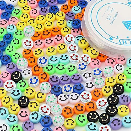 SAVITA 200 Uds Perlas de Colores Lindos Cara Feliz Con un Hilo Elástico Transparente para Pulseras, Collares, Fabricación de Joyas (Colores Aleatorios)
